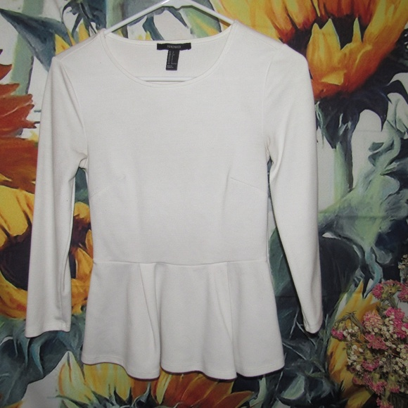 Forever 21 Tops - White Mid-Sleeve Shirt from Forever 21